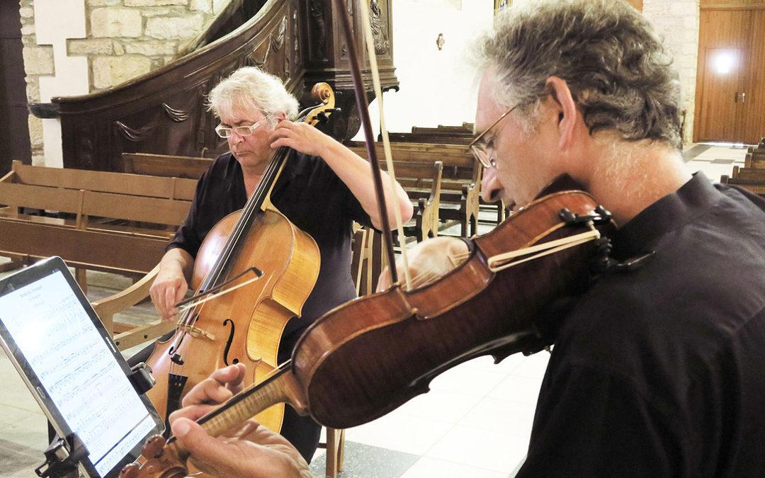 Mercredi 18 août 2021. 20h30«Histoires ou jeux de cordes…»Concert Aldo Ripoche, violoncelle Jean-Marie Lions, violon